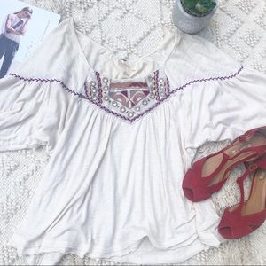 Free people embroidered cream oversized top
